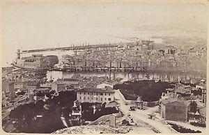 Marsiglia Panorama Del Vecchio Port Francia Vintage Albumina