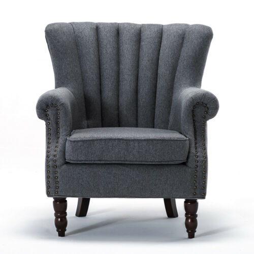 Chesterfield Velvet Wingback Tub Chair Fabric Armchair Lounge Upholstered Sofa
