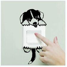 Cane nero e bianco a forma di interruttore della luce muro Adesivo Decalcomania Mult parte (Nuovissimo)