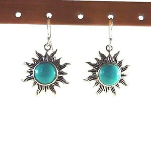 Created-Green-Turquoise-925-Sterling-Silver-Sun-Ray-Drop-Dangle-Hook-Earrings