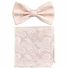 New formal Men's micro fiber Pre-tied Bow Tie & Hankie Peach paisley
