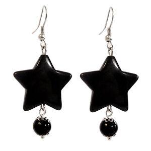 Boucles-D-039-oreilles-rock-gothique-etoile-noire-et-perle