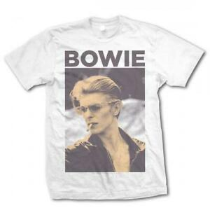 David-Bowie-T-Shirt-Smoking-Official-White-ladies-Tee-NEW-Classic-Rock-ladies