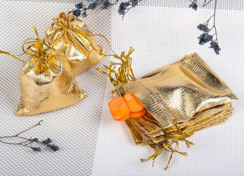 100 Säckchen Organzasäckchen Schmuckbeutel Wedding Beutel Hochzeit Silber Gold
