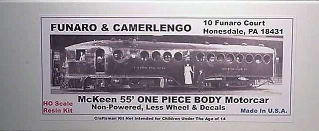 Funaro F&C HO  Unpowered  McKeen 55' Motorcar , One piece Body,  Kit  703