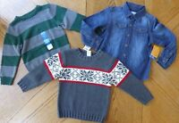 Boy Size 4 Sweater & Top Winter Clothes Lot Long-sleeved 4t $90 Retail