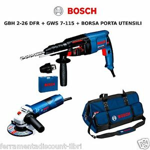 Drill Press Percussion GBH2-26 + Angle Grinder GWS7-115 With Duffle