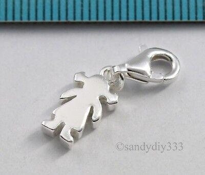 Biker Motorcycle Harley Charm Silver Plated Bracelet Pendant Loop Lobster Clip