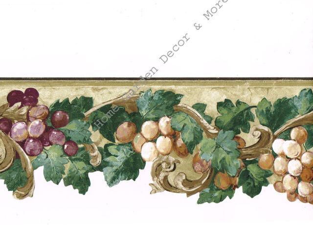 GRAPES HANGING ON VINES BEIGE//TAN CRACKLY BACKROUND Wallpaper bordeR