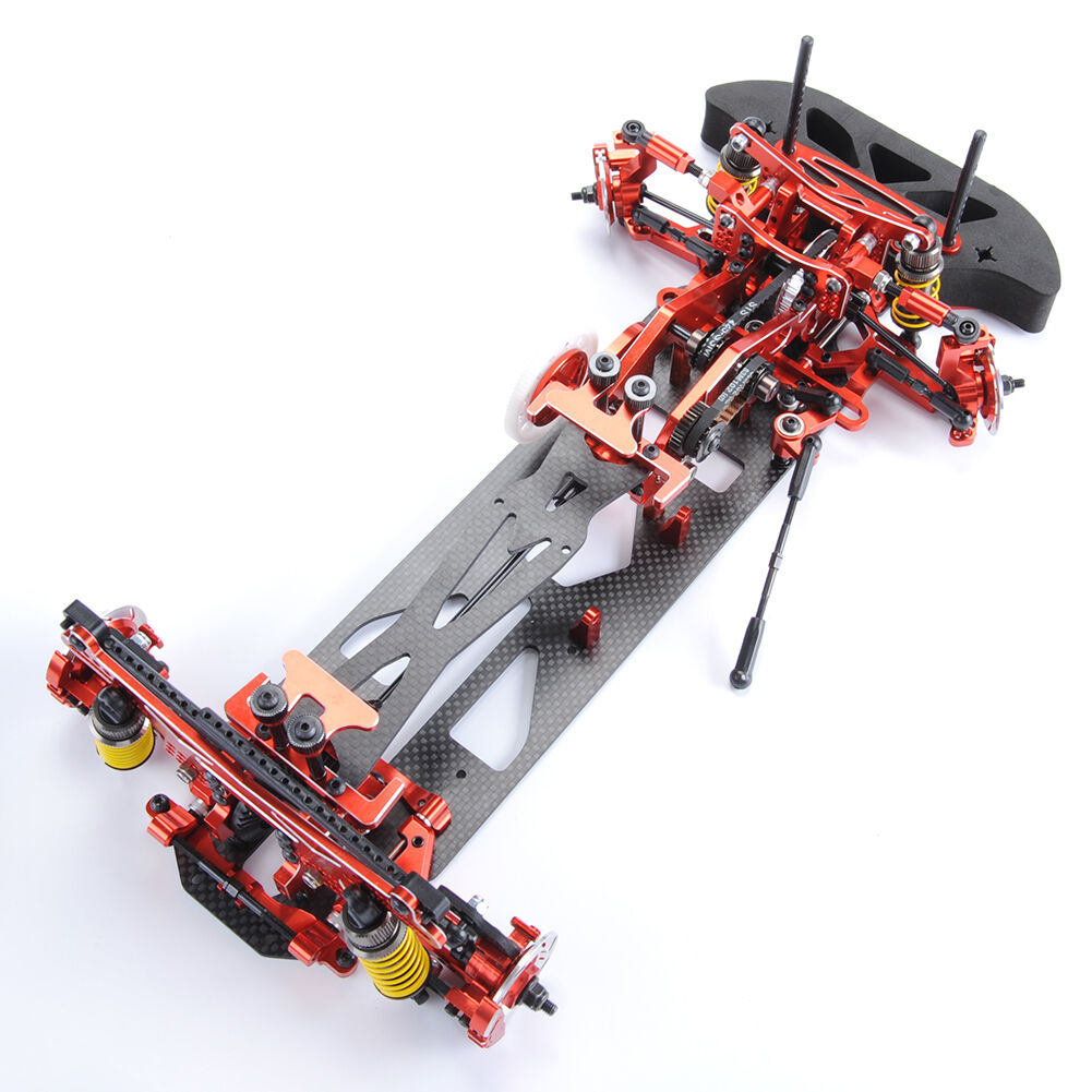 1 10 Scale Alloy & Carbon G4 RC 1 10 4WD Drift Racing Car Frame Kit Red