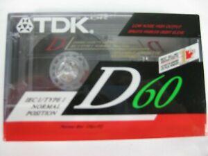 BLANK-AUDIO-CASSETTE-TAPE-NOS-VINTAGE-1990-TDK-D60-TYPE-I-NORMAL-BIAS-NEW-SEALED