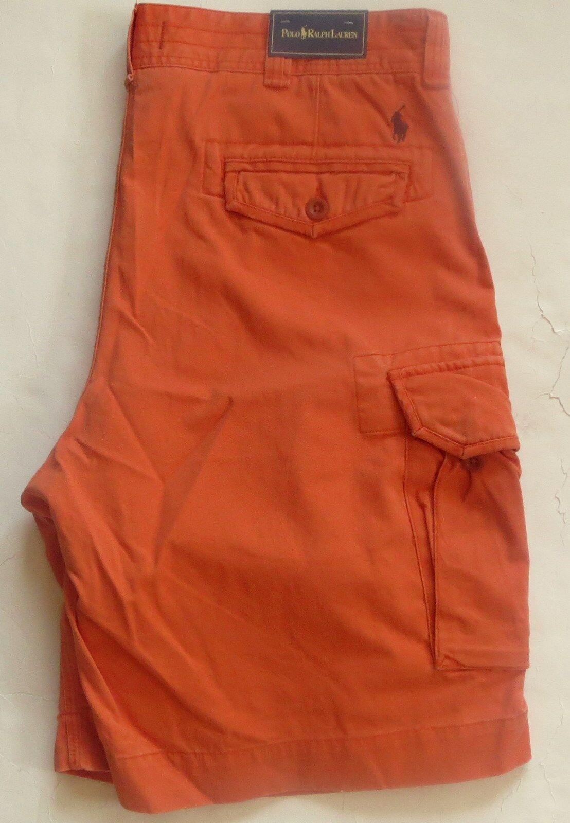 New Polo Ralph Lauren 100% Cotton orange Cargo Shorts with Pony Logo