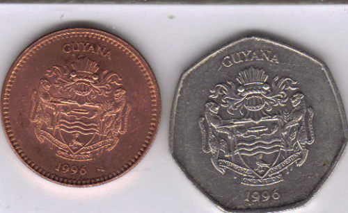 BOTH DATING 1996 5 /& 10 DOLLARS 2 HIGH DENOMINATION COINS from GUYANA