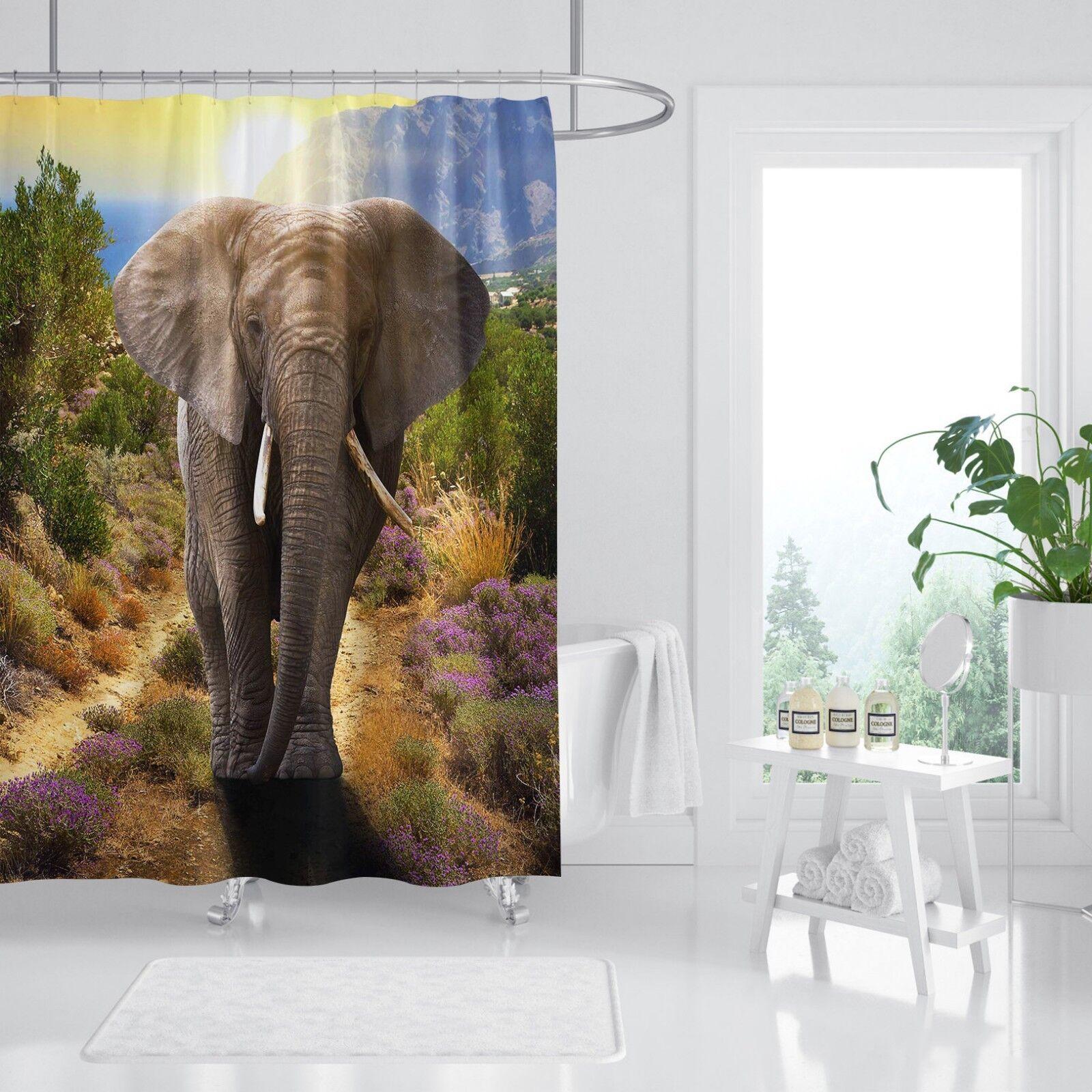 3D éléphant Animal 5 Rideau de Douche Imperméable Fibre Salle De Bain Windows Toilette