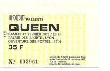 RARE / TICKET CONCERT - QUEEN : FREDDIE MERCURY - LIVE LYON ( FRANCE ) 1979