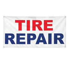 Vinyl Banner Multiple Sizes Tire Repair Red Blue Auto Car Shop Automotive