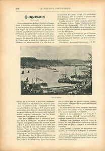 Panorama-Port-de-Quebec-Canada-Samuel-de-Champlain-GRAVURE-ANTIQUE-PRINT-1908