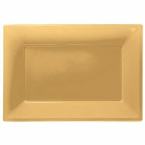 3 Gold Plastic Serving Platters Tray 33cm x 23cm Buffet Party Tableware 13051487867