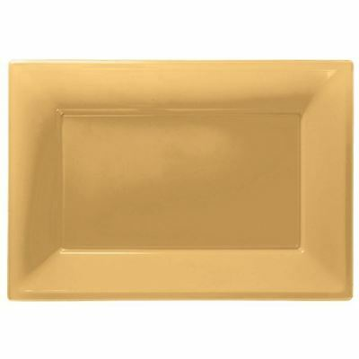 3 Gold Plastic Serving Platters Tray 33cm x 23cm Buffet Party Tableware