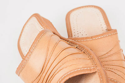 Las mujeres `s/ladies Cuero Zapatillas Tamaño: Uk 3,4,5,6,7,8. Colores: Beige, roja, marrón