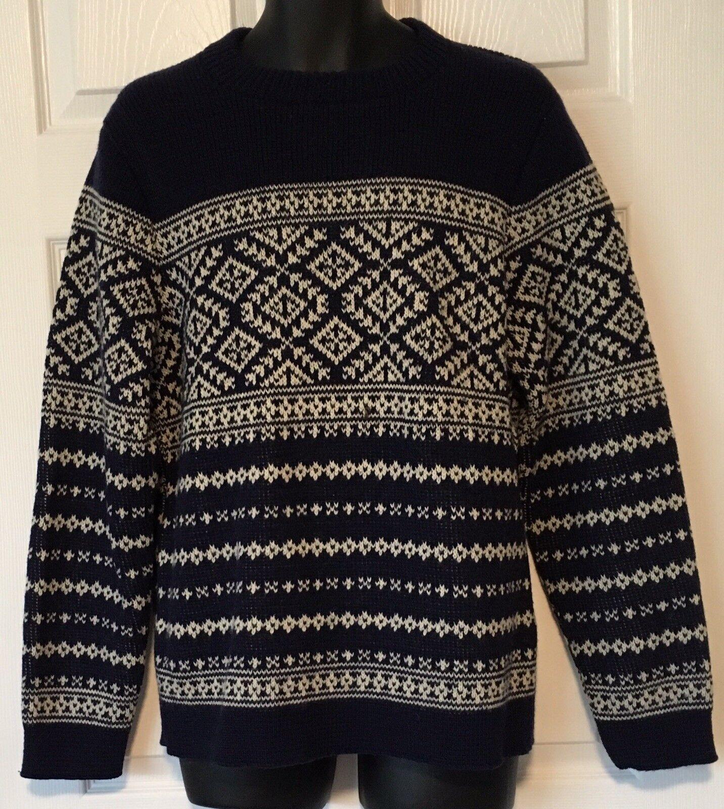 ALPS Knitmeister Ski Sweater Fair Isle Knit Pattern Navy bluee Ivory Men's Sz L