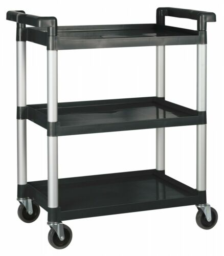 Winco UC-2415K Black 3-Tier Utility Cart 32?L x 16-1//8?W x 36-3//4?H