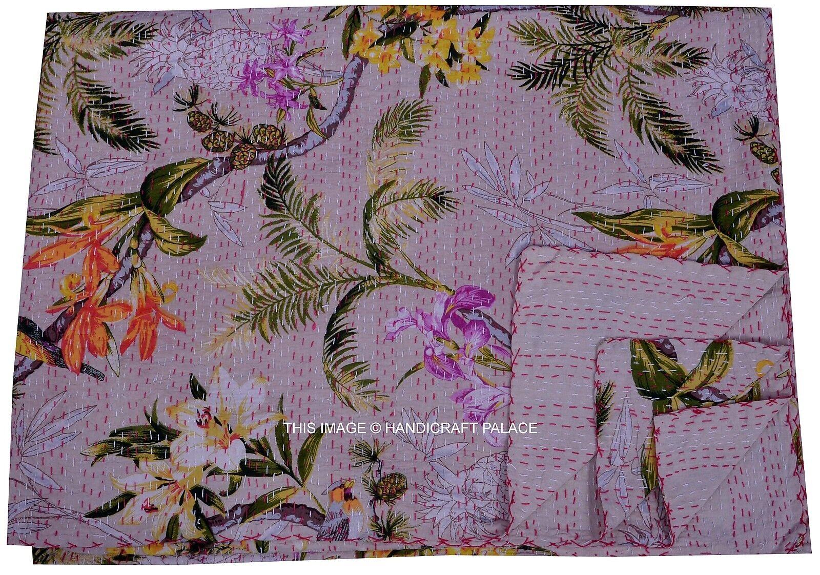 Vintage Indian Art Kantha Quilt Throw Floral Printed Bedspread Ethnic Decorative