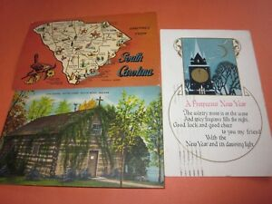 3-Vintage-Used-Postcards-Dated-1929-38-75-with-Stamps-South-Carolina-Indiana