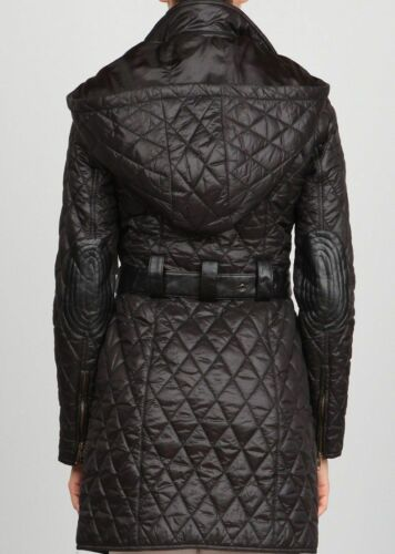 Ark Co Quilted Coat Jacket Elbow S Størrelse Lang Hooded Patch Anthropologie Sort drBTxwqd