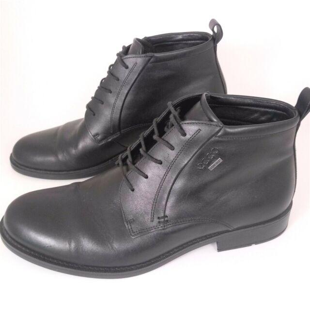 Ecco Men 43 Black leather 5 eye Chukka Boots Dress Casual Round Toe Comfort EUC