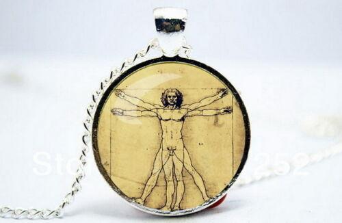 Leonardo da Vinci-Foto De Tono Plata Collar Colgante de cúpula de vidrio Vitruvian MAN