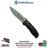 Smith & Wesson Extreme Ops Cuttin Horse Pocket Knife, Black Handle Ck105bk