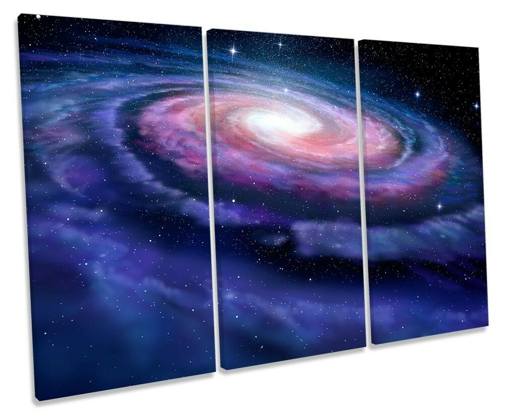Milky Way Astronomy Space Framed TREBLE CANVAS PRINT Wall Art
