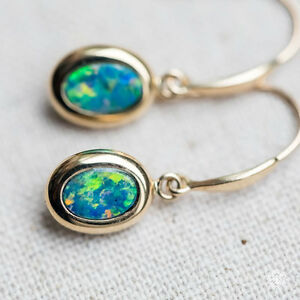 Image Is Loading Oval Natural Australian Doublet Black Opal Drop Earrings
