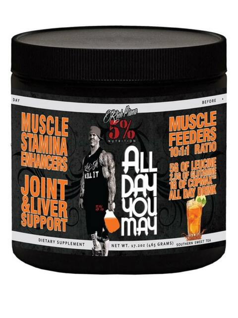 Rich Piana BCAA Powder 5% All Day You May Amino Acids Intra Workout 30 Servs