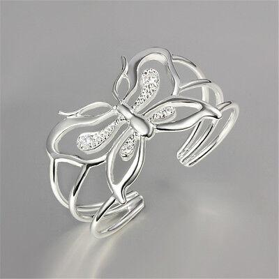 Hot Butterfly Bracelet Jewelry Women Bangle Silver Party Sterling Wedding Gift