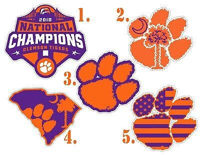 Pick 2 Clemson Tigers 2018 Champions Paw American Flag Vinyl Sticker Decal