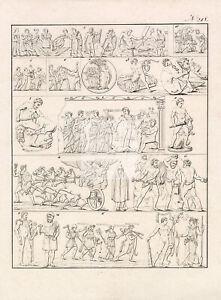 GODS-Hercules-in-Fights-Snake-Lion-Prometheus-Hydra-1828-Antique-Print-D898