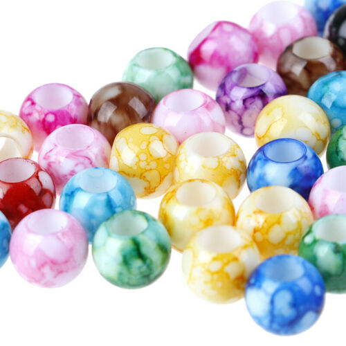 50Pcs Acrylic Round Hair Beads Braids Diy Dreadlock Beads Hair Extension Jewelry