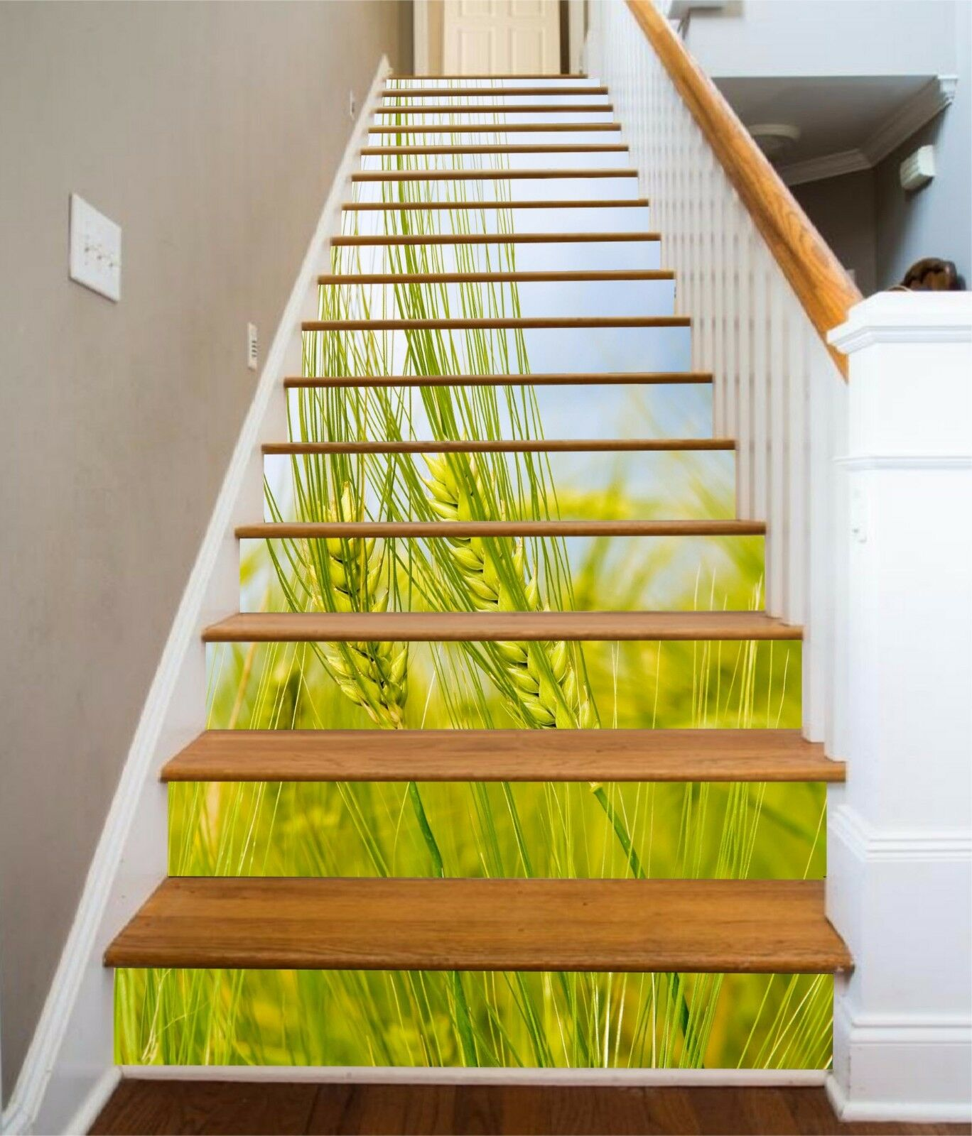 3D Wheat Field 104 Stairs Risers Decoration Photo Mural Vinyl Decal Wallpaper US