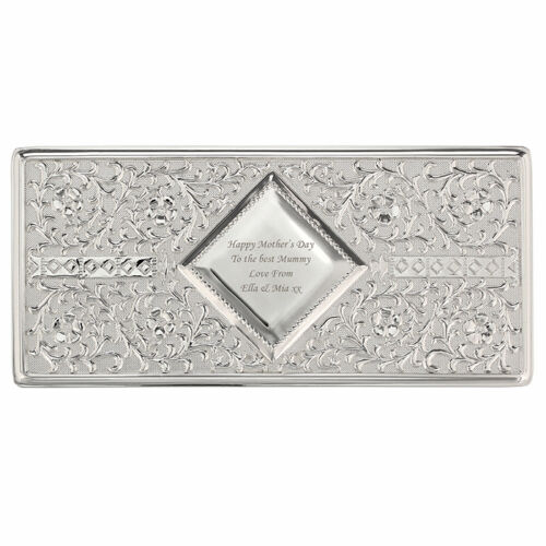 Personalised Engraved Message Antique Silver Plated Jewellery Box Gift for Her