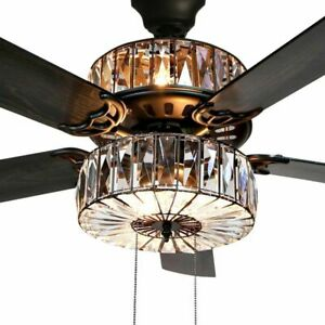 Details About Crystal Chandelier Ceiling Fan Light Fixture Kit With Remote Bronze Lighting 52