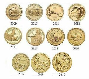 2009-2019-Sacagawea-Native-American-11-Coin-BU-Uncirculated-Dollar-Set