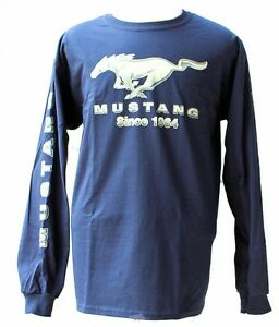 Ford Mustang Navy Blue Long Sleeve T Shirt Since 1964 3