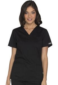 New Cherokee Workwear WW Core Stretch Scrub Set (Top:WW630/Pant:WW130) in Black