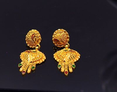Hand Craved Filigree Work 22 K Gold Earring Stud Traditional