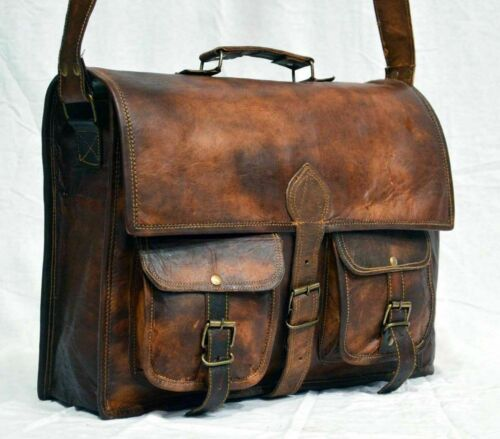 Mens New Brown Distressed Leather Satchel Briefcase Messenger Laptop New Bag