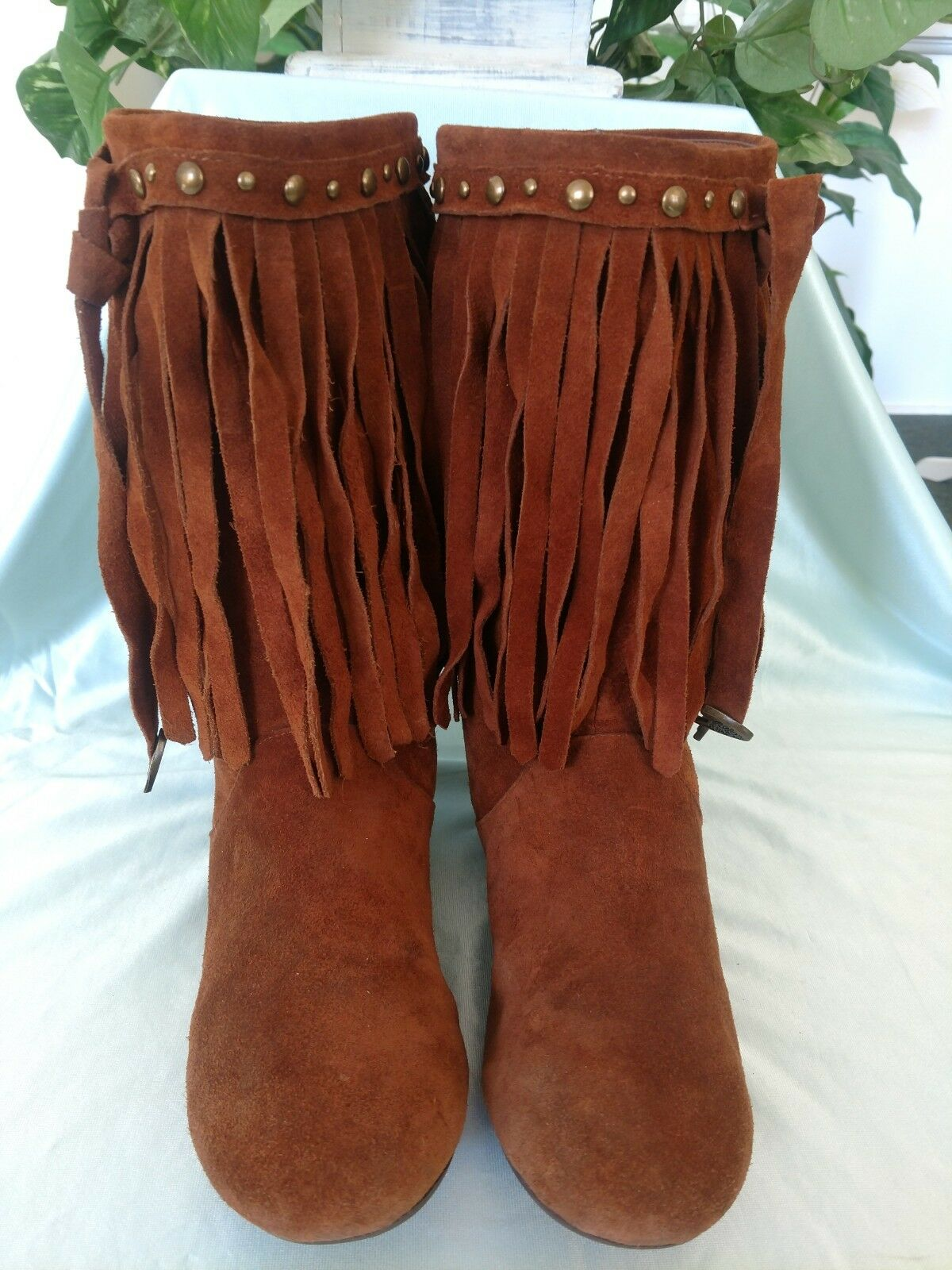 ALDO Moccasin Boots Women's Sz. 8.5 () Fringed Suede Brass Studs 11  Shaft