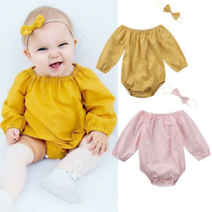 Toddler-Baby-Girls-Long-Sleeve-Romper-Bodysuit-Jumpsuit-Headband-Outfits-Clothes