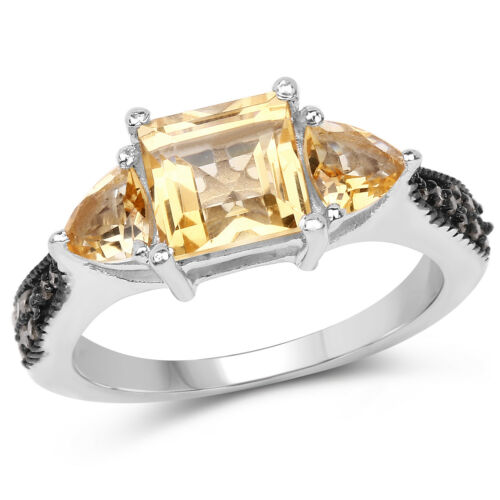 Weding Ring 925 Sterling Silver 2.61 Ct Genuine Citrine /& Champagne Diamond
